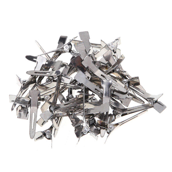 50pcs/pack Silver Pro Salon Hair Hairpin DIY Tool Flat Metal Single Prong Alligator Hair Clips Barrette Hairdressing Accessories