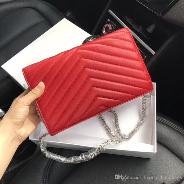 Designer Handbags sheepskin caviar metal chain gold silver Designer Handbag Genuine Leather bag Flip cover diagonal Shoulder Bags With BOX