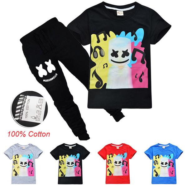 DJ Marshmello Kids Clothing Sets 6-14t Kids Boys Cartoon Printed 100% Cotton T-shirt + Trousers 2 Piece Set kids designer clothes SS100-U