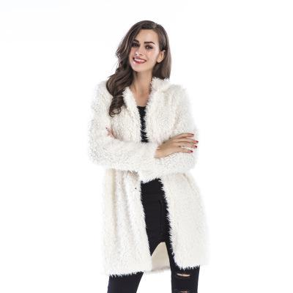 Women Lamb Fur Open Stitch Jackets High-end Elegant Lamb Wool Long-sleeve Jacket Solid Color Brief Lapel Fur Long Coat