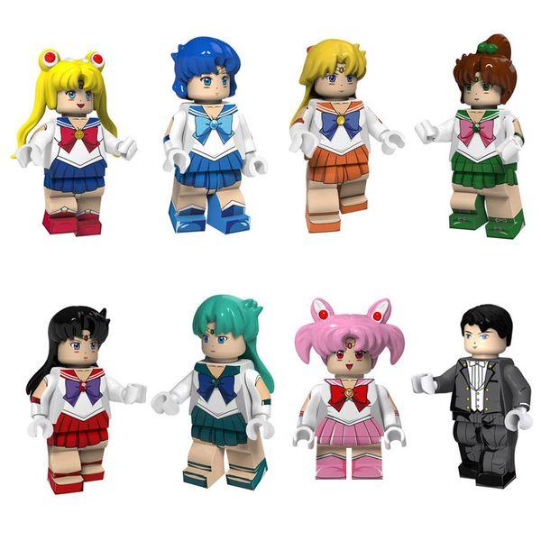 Janpan Anime Sailor Moon Marte Giove Venere Mercurio Chibi Chibi Nettuno Chiba Mamoru Tuxedo Kamen mini giocattolo figura Building Block giocattolo per la ragazza