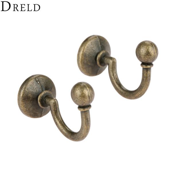 DRELD 2pcs Antique Bronze Alloy Wall Hanger Hat Coat Robe Hooks Bathroom Kitchen Hooks Hanger Furniture Hardware w/Screws