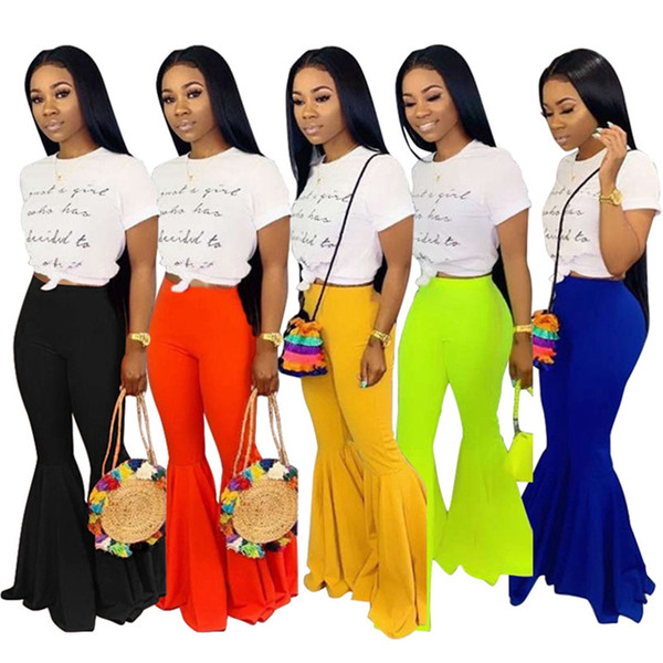 best selling Women Pants & Capris bootcut summer clothing new style candy color fashion sexy skinny full length Elastic Waist casual bell-bottoms 470