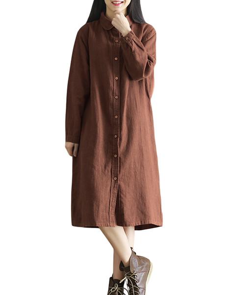 Neue Art- und Weisefrauen Retro Baumwollhemd-Kleid-Umlegekragen-lange Hülse plus Größe beiläufige lange Linie Blusen-Oberseite Grau / Kaffee