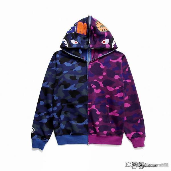 19SS alta calidad de la calle japonesa de moda camuflaje cardigan cremallera con capucha sudadera con capucha calle moda suéter adolescente al por mayor
