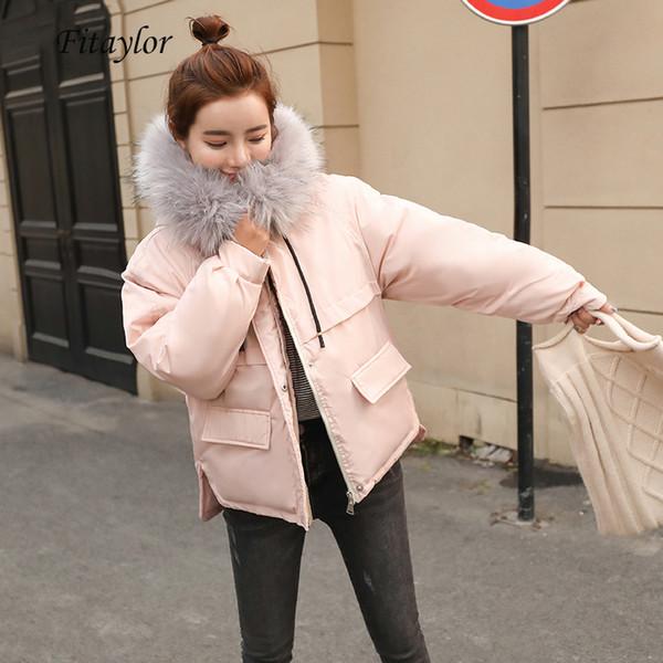 Fitaylor Sahte Kürk Yaka Kısa Parkas Gevşek Aşağı Pamuk Palto Kış Kadın Kapşonlu Ceketler Pembe Siyah Burgonya Kar Dış Giyim T191210