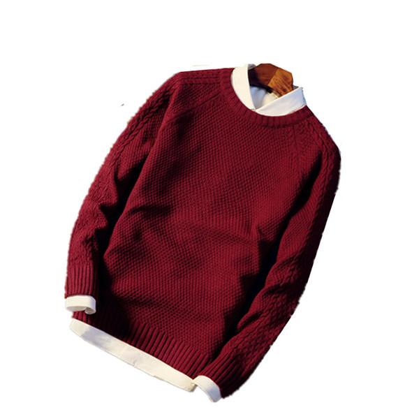 2019 Camisola Homens Pullovers Grosso Inverno Quente Camisola Jumpers Mulheres Outono Masculino Feminino Vestido de Malha O Pescoço tarja mens