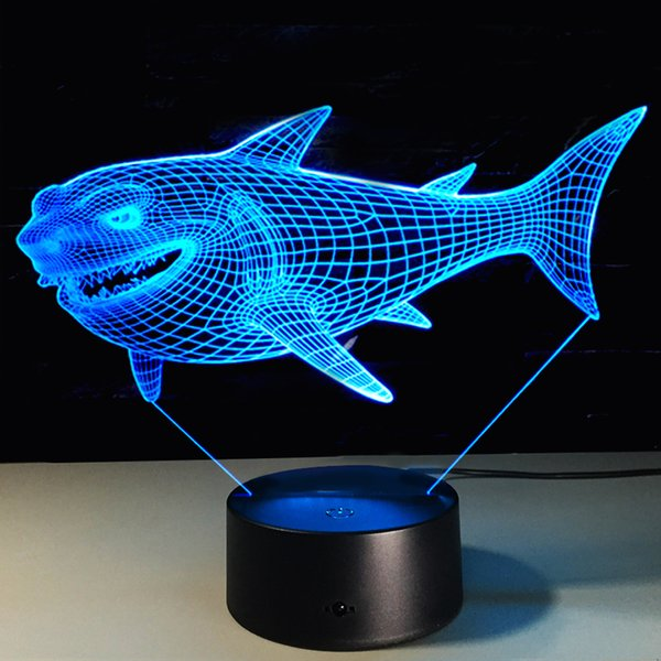 5 piece lot 3D Shark LED Night Light 7 Color Changing Touch Switch Optical Table lamp Festival Decor Kids Birthday Creative Gifts Toys
