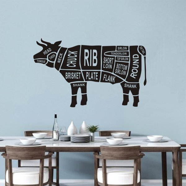 Hot new creative restaurant kitchen black carved animal cattle anatomical wall stickers wallpaper decoration custom wholesale