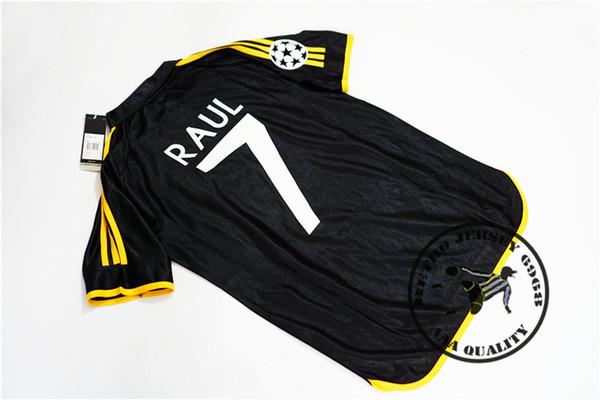 Free shipping 1999 2000 champion league final real madrid black away raul redondo r.carlos figo camisetas soccer jersey