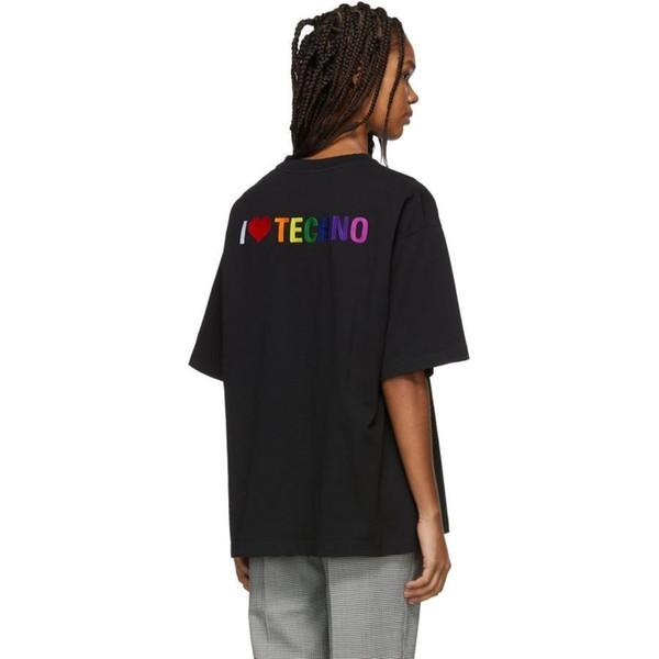 7301d1b2f6 T-shirt Fashion Designer di lusso 19SS Nero I LOVE TECHNO T-Shirt manica