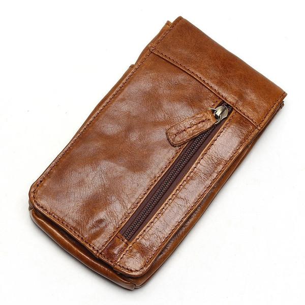 2019 Genuine Leather Vintage Waist Packs Men's Travel Fanny Pack Belt Loops Hip Bum Bag Waist Bag Mobile Phone Pouch