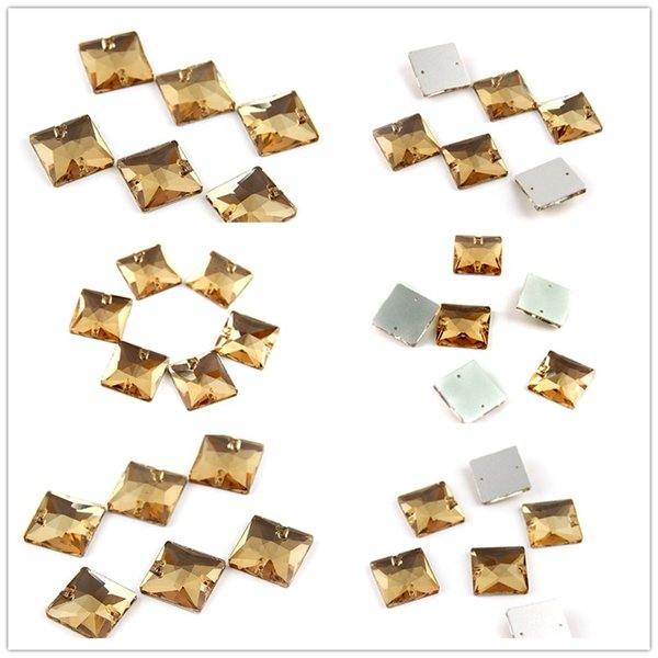 Various Sizes Square Champagne Sew on Stone Sewing Flatback Rhinestone Beads Sew On Strass Crystal Stones DIY For Clothes Decoration