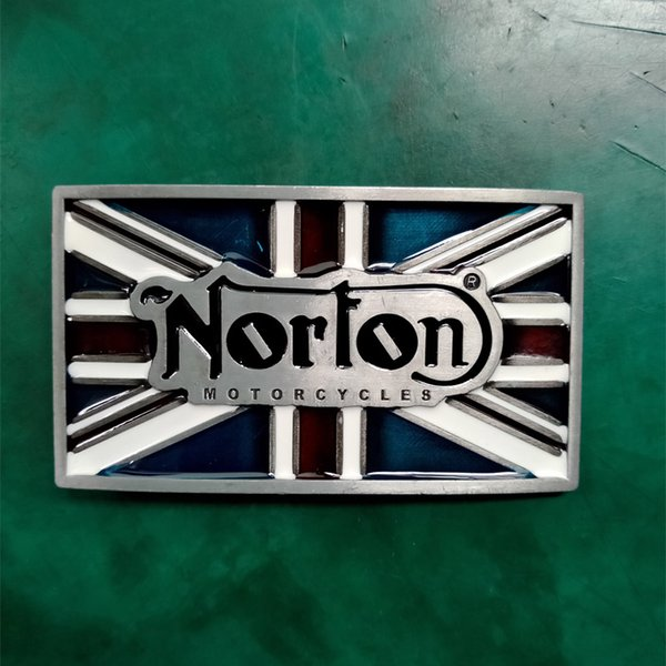 1 Pcs UK Flag Norton Motorcycle Luxury Cowboy Belt Buckle For Mens Jeans Western Belt Head Fit 4cm Wide Jeans Belts