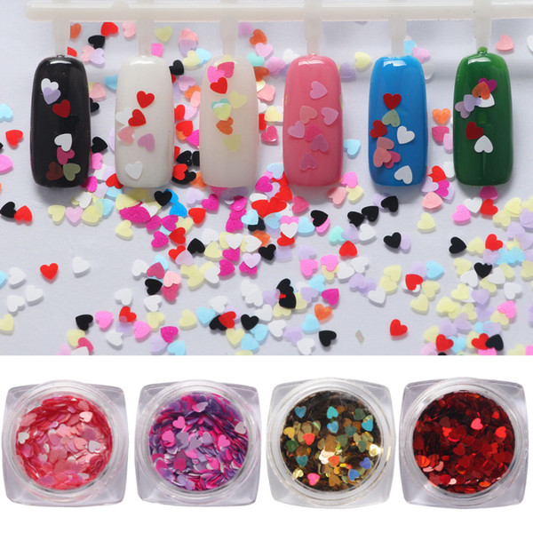top popular Nail Art Decoration Colorful Ultrathin Heart Paillette PET DIY Nail Polish Care Manicures Tips Tool Accessory for Woman Wedding Festival Box 2021