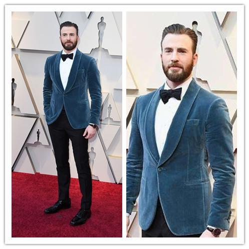 Chris Evans Oscar 2019 Red Carpet Mens Suits Tuxedo Pour Le Marié Exquisite Mens Suits Pour Le Mariage Costumes Formels Hommes (Veste + Pantalon + Arc)