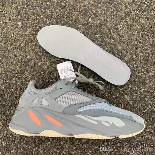 2019 Hot Sale Top Authentic 700 Inertia Kanye West Running Shoes Blue Gray Men Women Sports Sneakers APE779001 With Box With Original Box