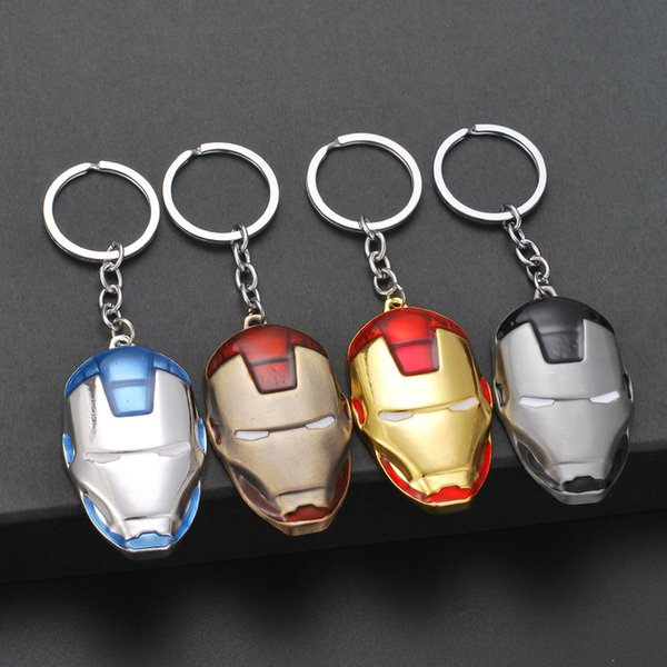 1PCS Iron Man Mask Keychain Marvel Anime Figure Superhero Pendant Key Chain Car Key Ring Men Holder Trinket Gift