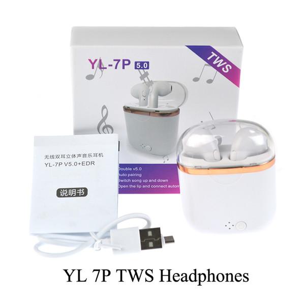YL-7P TWS Беспроводные наушники Bluetooth Наушники с зарядным устройством Box V5.0 Беспроводные стерео наушники Наушники Гарнитура Для iOS Android