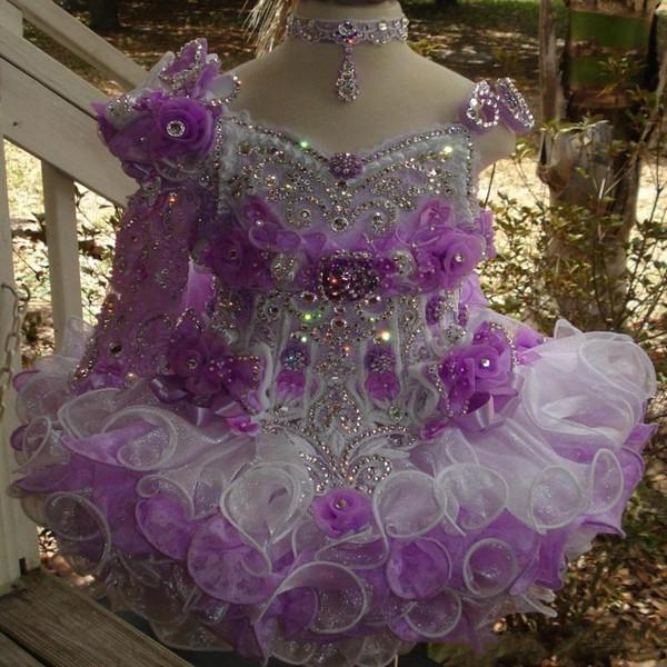 Organza Mini Cupcake Toddler Flower Girl Vestidos Rhinestones de abalorios en capas Piping Cupcake Blanco Little Glitz Girls Pageant Vestido