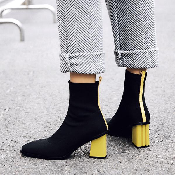 2018 New Style Women Stretch Boots Donna Fashion Red Yellow Donna Stivaletti Warm Square Toe Tacchi alti stivali