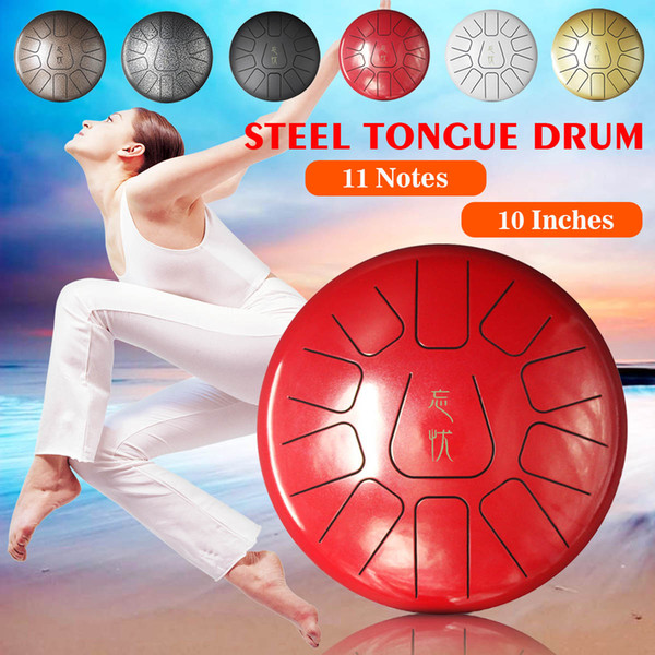 top popular 10 Inch Percussion Steel Tongue Drum Hand Pan Drum with Drum Mallets Carry Bags Note Sticks Percussion Instrument 2021