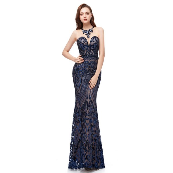 Navy blue Prom Dresses with sequins sleeveless Party Dresses 2019 new floor length Mermaid Evening Gowns Vestidos