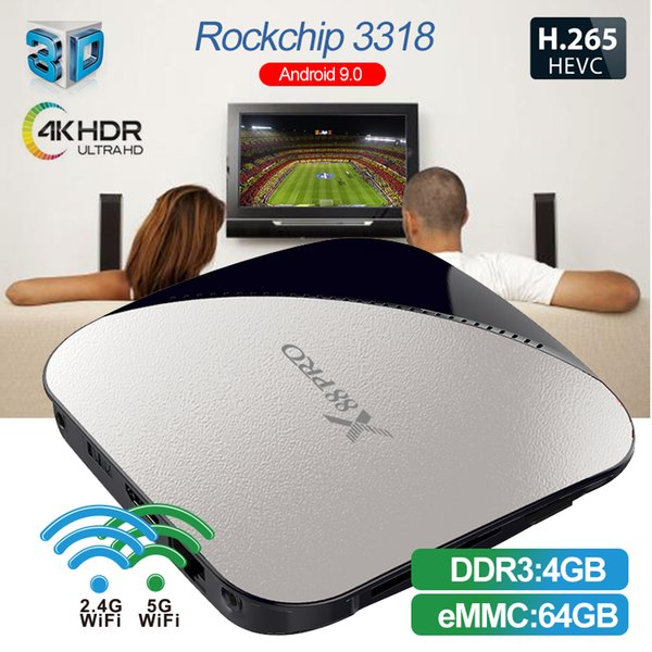 iLepo X88 pro Android 9.0 TV Box 4G 64G Rockchip RK3318 Quad Core 2.4G 5G Wifi 4K HDR Set Top Box USB 3.0 Suporte para filmes em 3D Ott Box