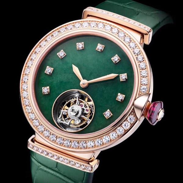 Para mujer, relojes de moda, caja de acero, correa verde, movimiento mecánico, zafiro, espejo, 33 mm, para mujer, esfera de diamante con caja de reloj A9-1