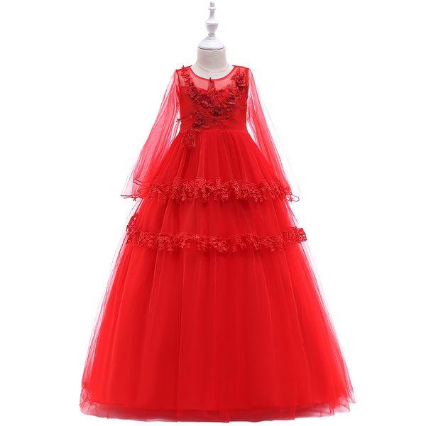 Lovely Purple Blue Red Pink Ankle Girl's Pageant Dresses Flower Girl Dresses Princess Party Dresses Child Skirt Custom Made 2-14 H312206