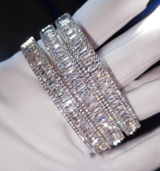 Brand New Luxury Jewelry 925 Sterling Silver Princess Cut White Topaz CZ Diamond Gemstones Wedding Bangle Women Wrist Bracelet Gift