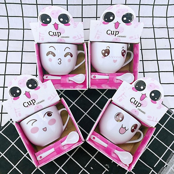 Cartoon ceramic cup cute expression mugs coffee mug with spoon cute pet Christmas gift lucky cup gift box packing DHL Free Shipping