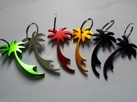 Hot sell 400 pcs/lot palm tree shape keychains customed printed logo beer can bottle opener key ring promotion gift