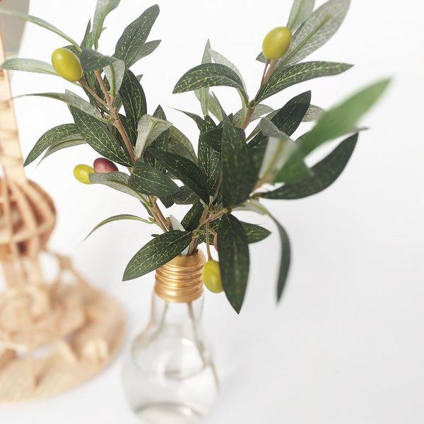 1 Stem PU Leaf Faux Olive Branch 3 Model Artificial Green Plant Wedding Bouquet Centerpiece Home Decor Greenery