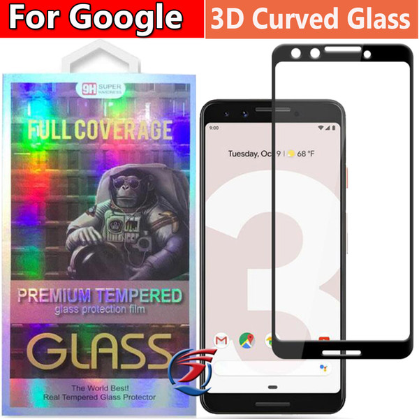 3D Curved Full Cover Tempered Glass Phone Screen Protector For Google Pixel 2 3A XL Pixel3A Pixel2 XL with retail package dhl free shipping