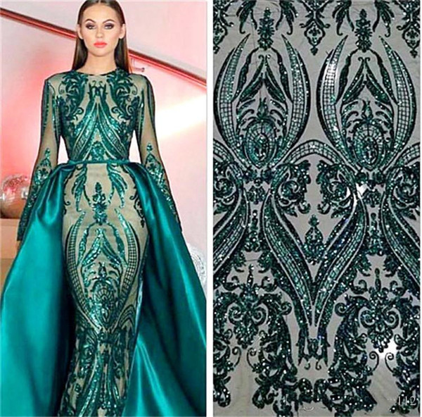 Saudi Arabic Sequined Tulle 2 Styles A-Line Evening Dresses 2019 New Long Sleeve Celebrity Dechatable Formal Party Prom Gowns Plus Size