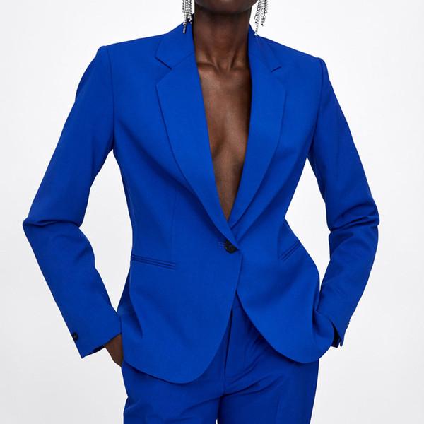 Klasik Ceket Kadınlar Moda Uzun Kollu Ceket Kadınlar Şık Uyarlanmi Yaka Ceket Suits Kadın Bayanlar DI03MX190929 Takımları