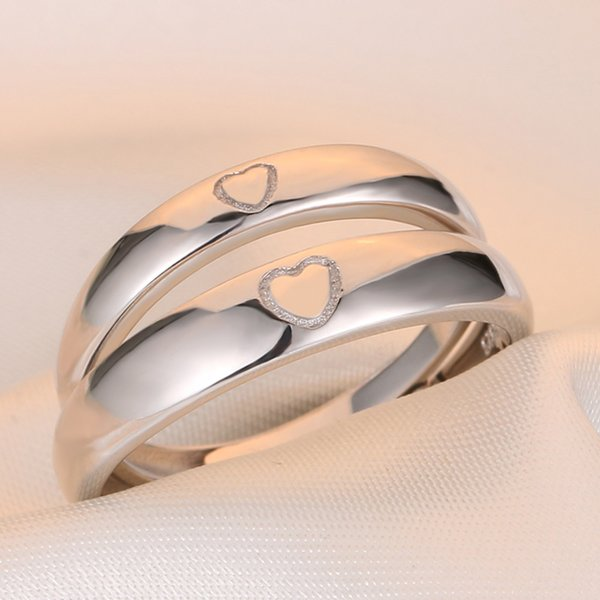 Japanese and Korean simple 925 pure silver couple ring opening can adjust personality accessories sterling silver ring