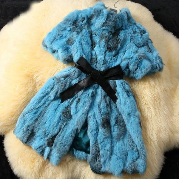 2019 Women New Arrival Real Rabbit Fur Coat Genuine Natural Rabbit Real Fur Vest Winter Coat Plus size with belt JN177
