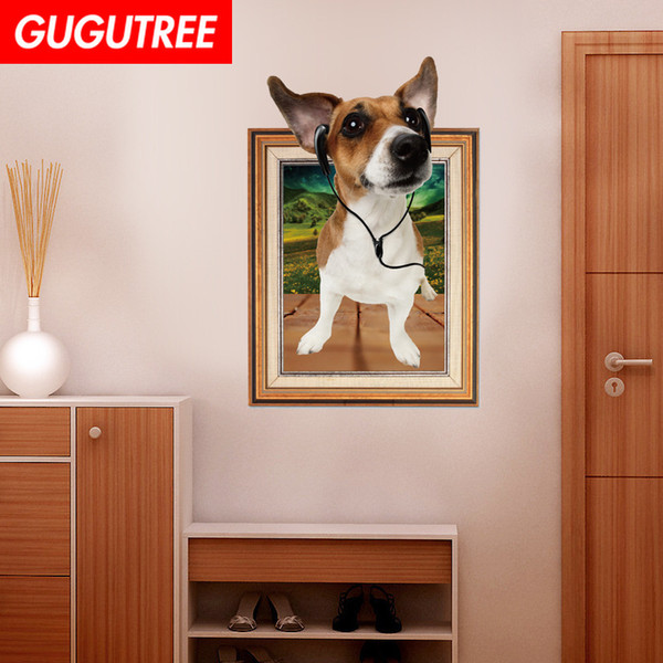 Decorate home 3D dogs cartoon art wall sticker decoration Decals mural painting Removable Decor Wallpaper G-871