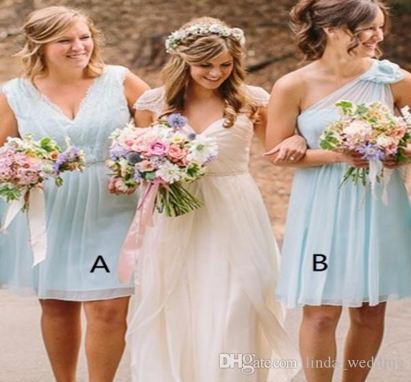 2019 Western Country Garden Beach Summer Short Bridesmaid Dress Mixed Style Wedding Guest Maid of Honor Gown Plus Size Custom Made