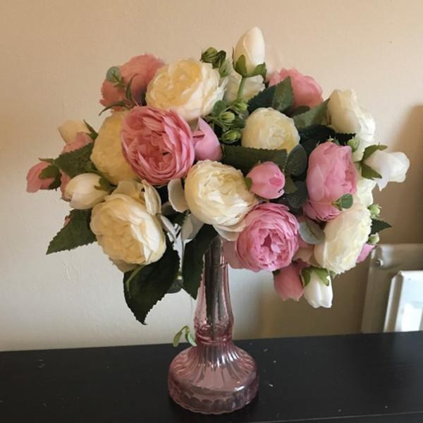 5 cabezas grandes / ramo de peonías flores artificiales peonías de seda ramo 4 flores de capullos de boda decoración del hogar falso