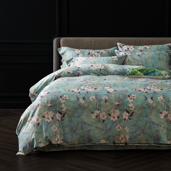 Green Duvet cover set King Queen Double Size 100 egyptian Cotton Bedding Sets Floral Bedlinen
