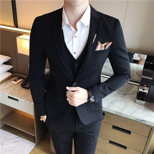 3 Piece Men Suits Wedding Suits for Men Dress Black Terno Masculino Slim Fit Latest Design Tuxedo Royal Blue Costume Homme 2019