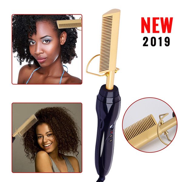 best selling NEW Electric Hair Curler Comb Wet and Dry Use Hair Curling Iron Straightener Comb Copper 110-240V Hair Styling Tools
