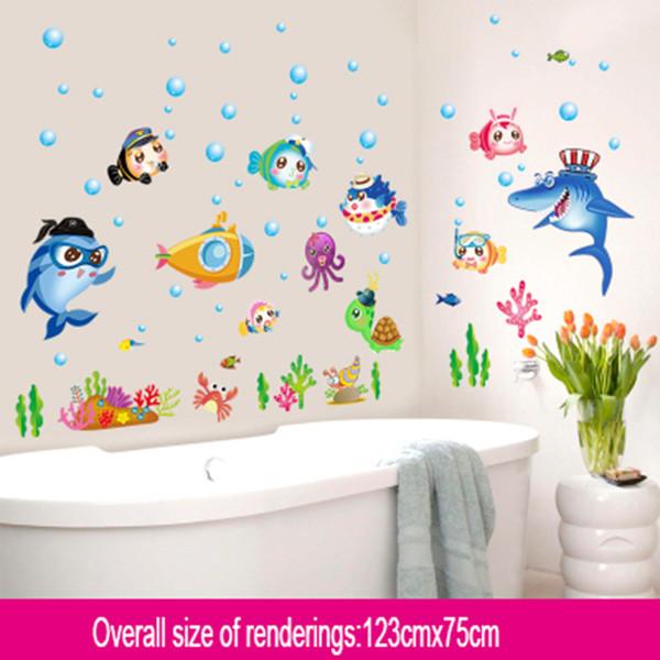 Мультфильм стикер стены мульти-тип животных детская комната декор ванная комната наклейки DIY съемный наклейки мультфильм милые животные D19011702