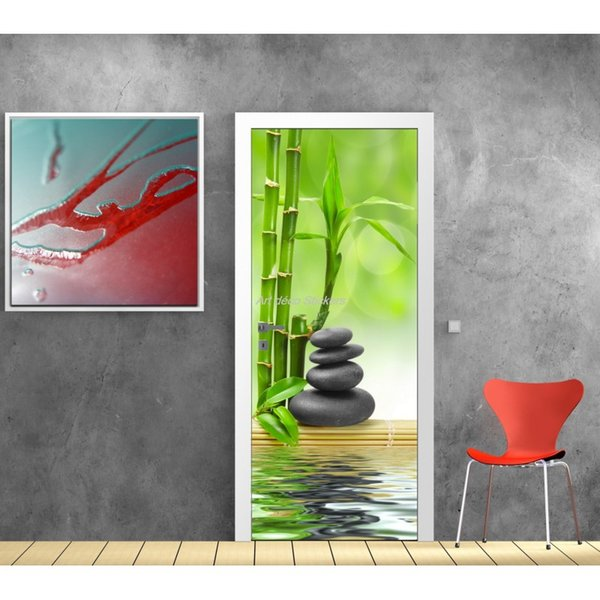 Door Stickers Home Decor Door Wrap Riverside Stones Wall Sticker Mural Wallpaper Poster Self Adhesive PVC Removable Waterproof Door Decal