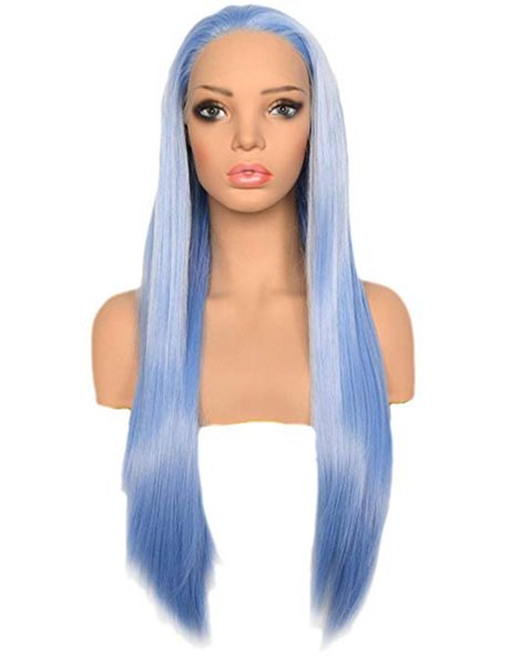 Blue Lace Front Wigs Natural Looking Long Straight Heat Resistant Synthetic Hair Half Hand Tied Wigs Free Part for Fashion Women 22inches