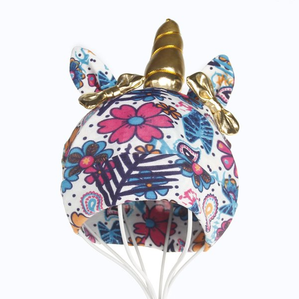 6 styles chapeaux de licorne Bowknot Fleur imprimé bébé casquettes fille hiver doux casquettes enfants bonnet bébé photographie Props cadeau d'anniversaire FFA1680 150pcs