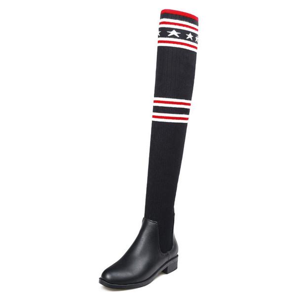 Новые Женщины Сексуальные Сапоги Над Коленом Круглый Носок Квадратный Каблук Ботинок Скольжения На Эластичной Ткани Клетчатый Черный Звезда Красный Черный Кожа